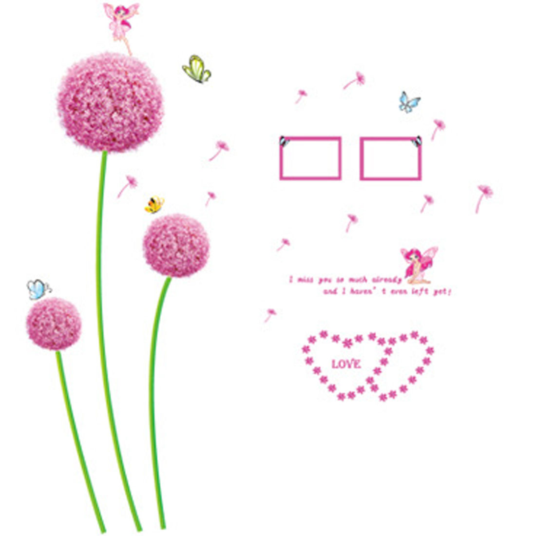 Home Room Purple Flower Butterfly Pattern Removable Wall Sticker Decal Decor