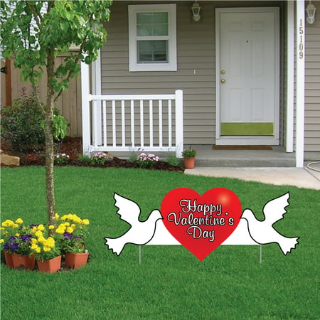 Happy Valentine's Day heart with doves 2'x4' corrugated plastic yard sign 2 short (Happy Heart Sign)