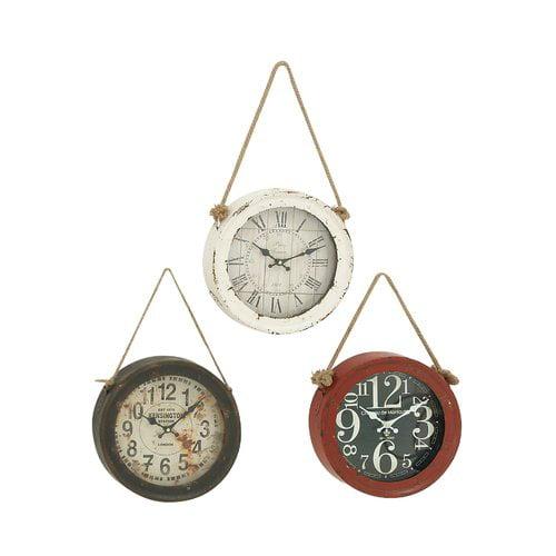 Cole & Grey Metal Wall Clock Set (Set of 3)