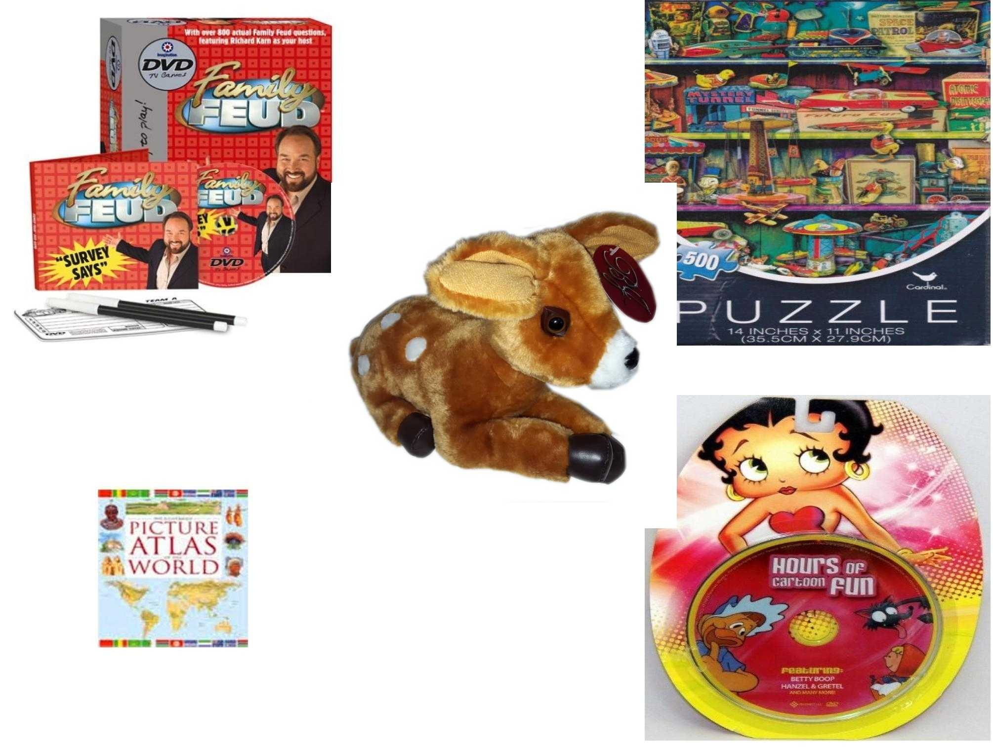 Children's Gift Bundle [5 Piece] - Family Feud DVD - Vintage s - B J  Co  Fawn Spotted Baby Deer 8