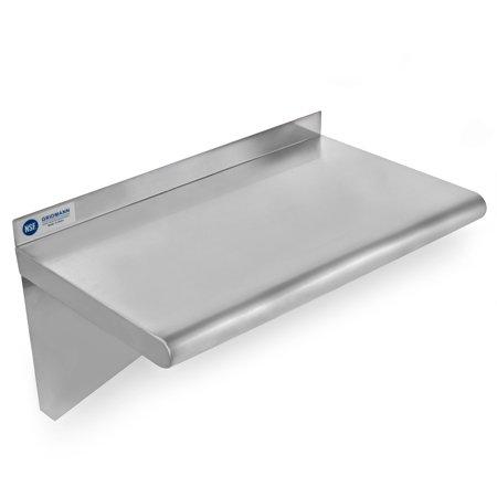 (GRIDMANN NSF Stainless Steel Kitchen Wall Mount Shelf Commercial Restaurant Bar w/ Backsplash - 18