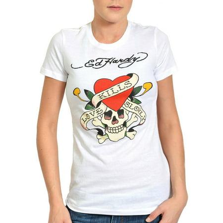 Ed Hardy Womens Love Kills Slowly Tee Shirt - White Ed Hardy Dragon T-shirt
