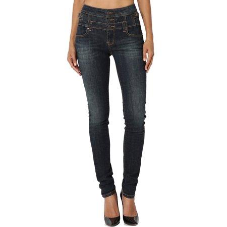 TheMogan Women's 3 Button Curvy High Waisted Stretch Denim Skinny Jeans Dark (Lauren Three Button Jeans)