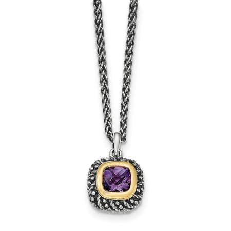 - 925 Sterling Silver 14kt Purple Amethyst Chain Necklace Pendant Charm Gemstone Fine Jewelry Ideal Gifts For Women Gift Set From Heart