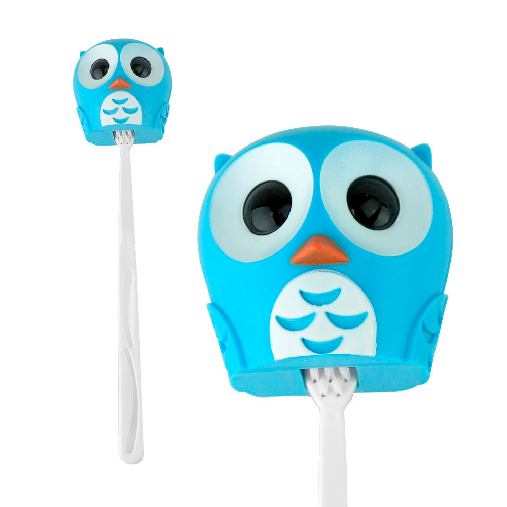 Kikkerland Toothbrush Cover Holder Case Toiletry Cute Owl Kid Bathroom Suction