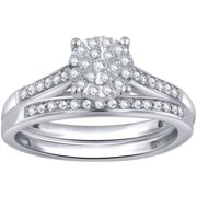 1/5 Carat T.W. Diamond Sterling Silver Composite Bridal Set