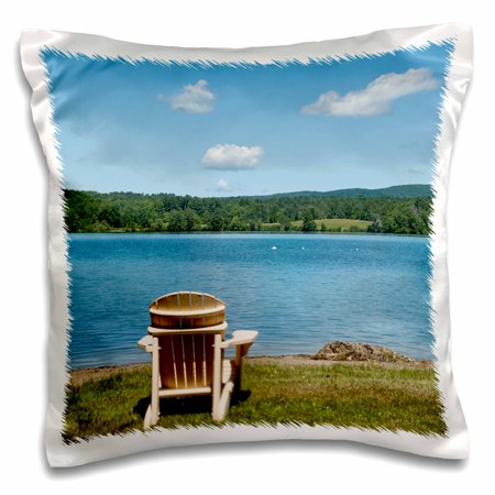 3dRose Adirondack Chair facing a lake - Pillow Case, 16 by 16-inch