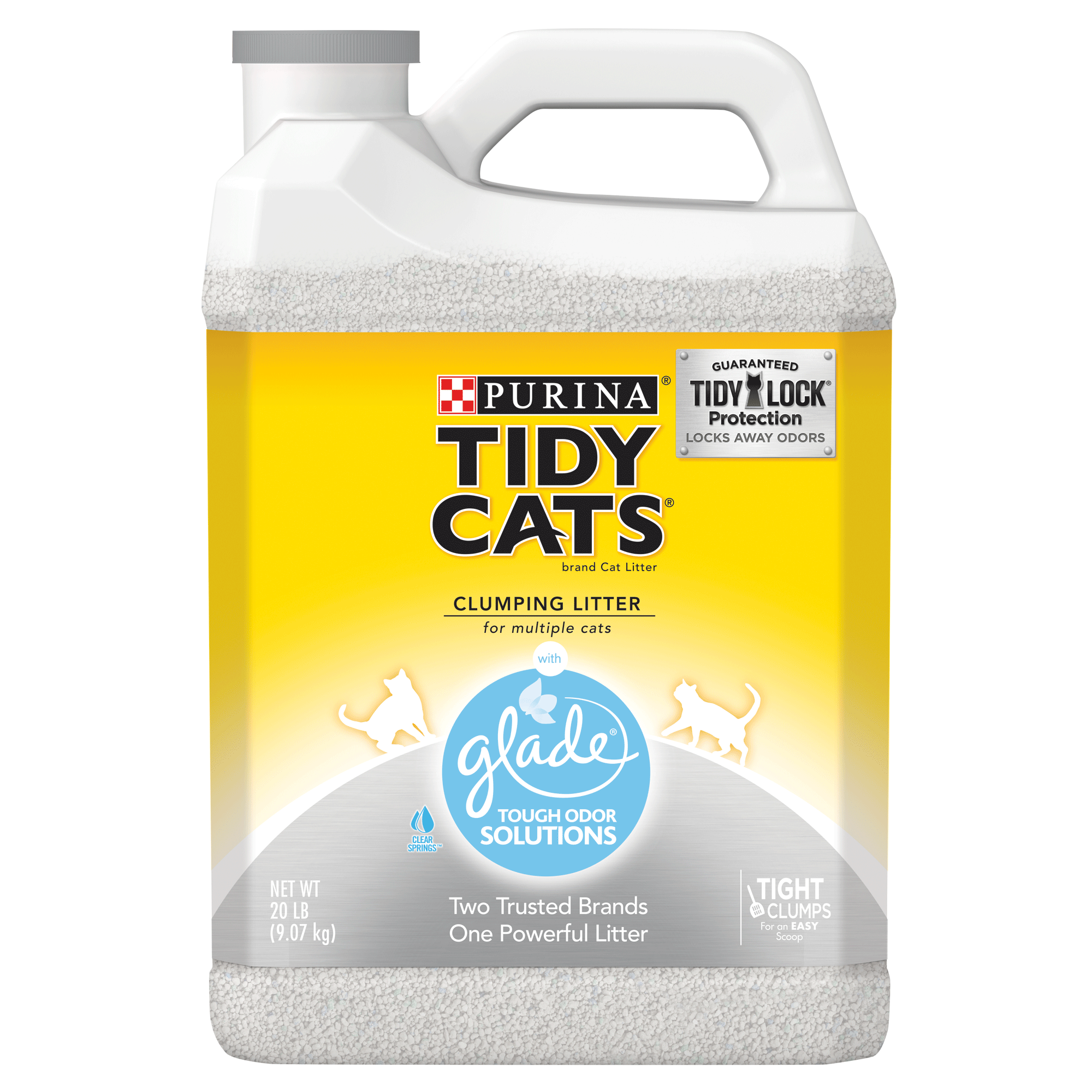 Purina Tidy Cats Glade Tough Odor Solutions Clear Springs Clumping Cat Litter, 20-lb