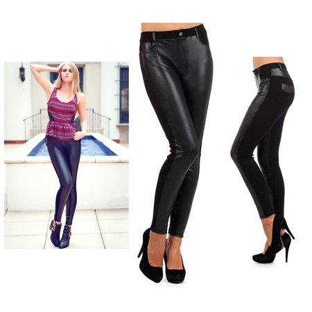 Womens Leggings Faux Leather Shiny Liquid Wet Look Sexy Stretch Party Dance - Leggings Liquid