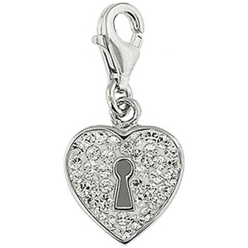Doma Jewellery SSPE173CClear Sterling Silver And Crystal Charm, Heart Lock - Clear
