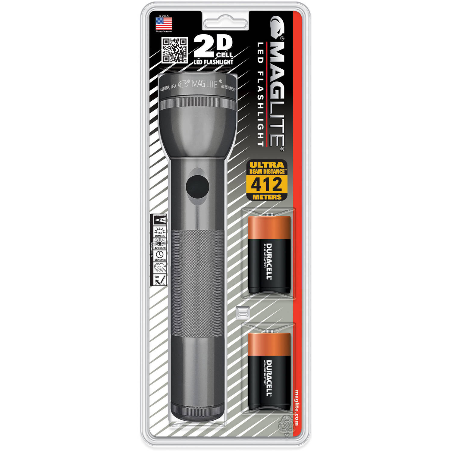 Maglite 2D LED Flashlight with Batteries, Gray