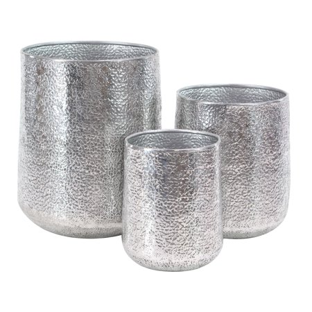 Decmode Set of 3 Modern Round Silver Aluminum Planters, Silver