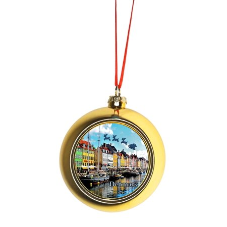 Santa Claus and Sleigh Riding Over Nyhavn, Copenhagen Bauble Christmas Ornaments Gold Bauble Tree (Gold Sleigh)