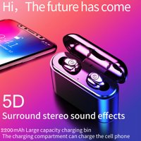Bluetooth 5.0 Headphones TWS Wireless Earphones Mini Earbuds Stereo Headset IPX7 with Charging Case Black