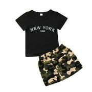 Toddler Baby Girls Camouflage Outfit Black T-Shirt Pocket Skirt Dress Summer Clothing Set