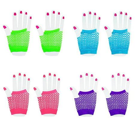 Fingerless Diva Fishnet Wrist Gloves Assorted Neon Colors (12 Pairs)](Neon Fishnet Gloves)