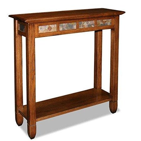 ModHaus Living Modern Rustic Oak Narrow Sofa Table Console Hall Stand Rectangle Wooden Brown Finish with Slate Tiles - Includes Pen ()