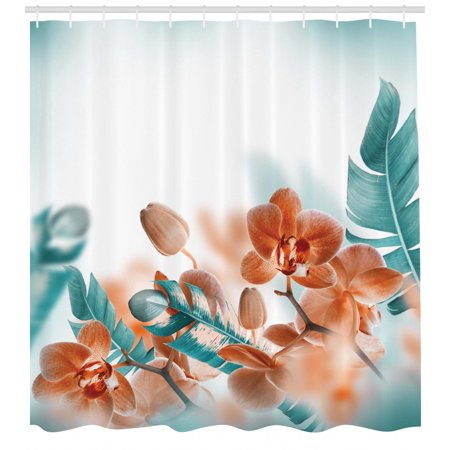Tropical Shower Curtain, Tropical Orchids Blossom Leaves on Blurred Background Floral Themed Modern Art, Fabric Bathroom Set with Hooks, Orange Teal, by Ambesonne