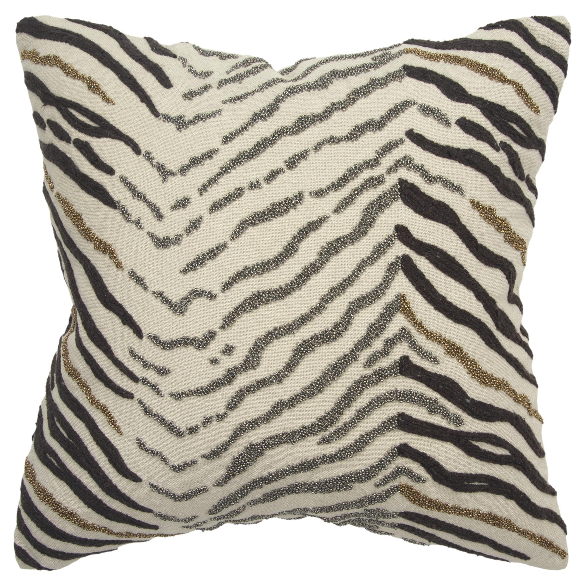 """Rizzy Home Decorative Poly Filled Throw Pillow Zebra Print 18""""X18"""" Natural"""