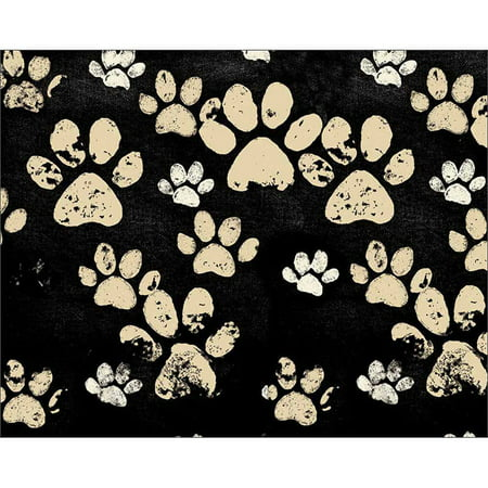 Distressed Paw Print Dog Cat Animal Pet Texture Painting Black & Tan Canvas Art by Pied Piper Creative (Black Paw Print)