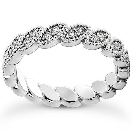 Platinum 1/3 Ct Diamond Stackable Eternity Ring Womens Wedding Band Vintage Black Diamond Platinum Bands