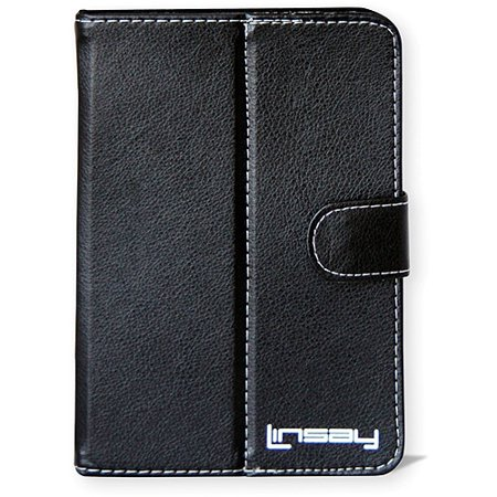 LINSAY C-7 TABLET PC LEATHER MULTI-ANGLE STAND UP PROTECTIVE CASE C-7 Black