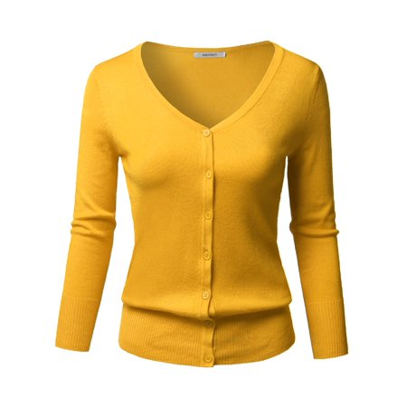 FashionOutfit Women's Solid Button Down V-Neck 3/4 Sleeves Knit Cardigan Edwards Womens V-neck Cardigan
