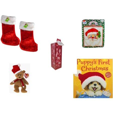 Christmas Fun Gift Bundle [5 Piece] - Be Jolly Premium Red Faux Fur Stocking 18.5
