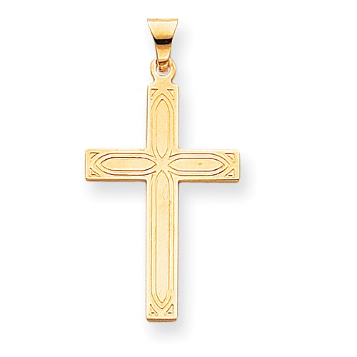 14k Yellow Gold Engravable Solid Latin Cross Pendant