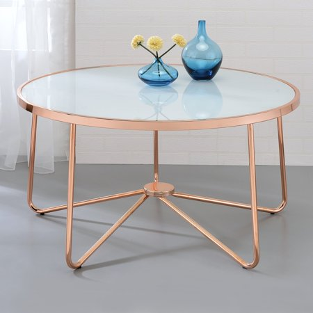 "ACME Alivia White Glass Coffee Table, Rose Gold Base, 34""W"