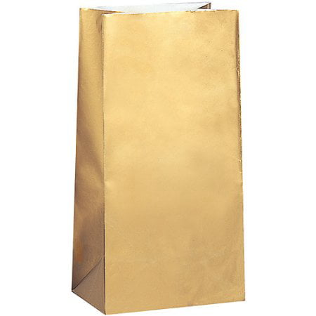 (3 Pack) Paper Luminary & Party Bags, 10 x 5 in, Metallic Gold, 10ct ()
