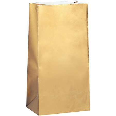 (3 Pack) Paper Luminary & Party Bags, 10 x 5 in, Metallic Gold, - Luminary Bag