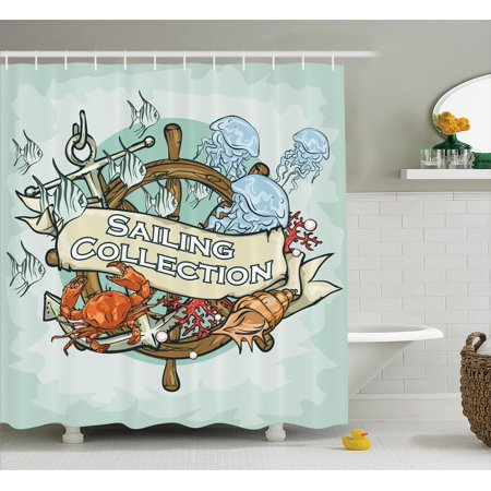 Nautical Decor Shower Curtain Set Sailing Collection Old Times Fisherman Ribbon Banner
