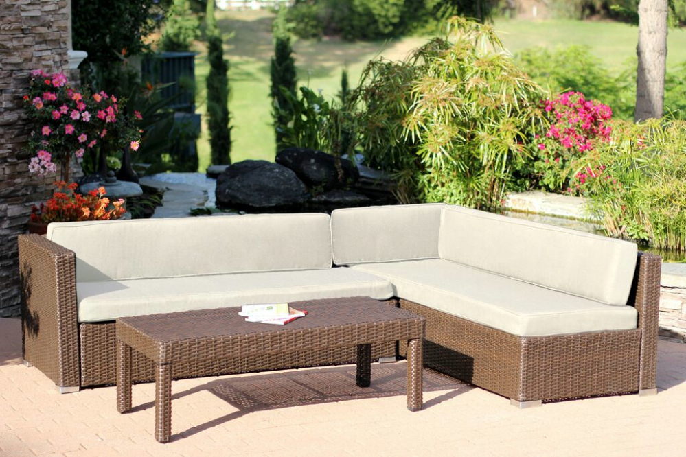 3-Piece Espresso Resin Wicker Outdoor Patio Sectional & Table Set