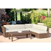 """Set of 3 Espresso Resin Wicker Outdoor Sectional Table Set With Beige Cushions 70"""""""