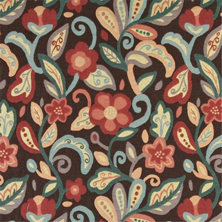 Contemporary Floral Fabric - Designer Fabrics K0023B 54 in. Wide Teal, Blue, Orange, Red And Brown, Floral Contemporary Upholstery Fabric
