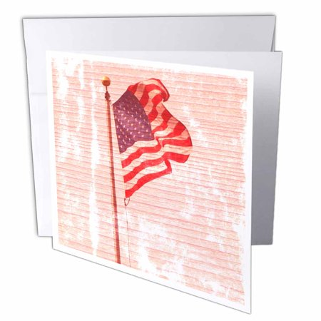 3dRose American Flag Wood Design Patriotic 4th of July Americana, Greeting Cards, 6 x 6 inches, set of 12