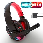TSV Wireless Gaming Headset, Bluetooth Stereo Over Ear Headphones with 10Hrs Long Work Time, Volume Control, Noise Cancelling Microphone, Comfortable Memory Foam, and Designed for PC Tablet Smartphone