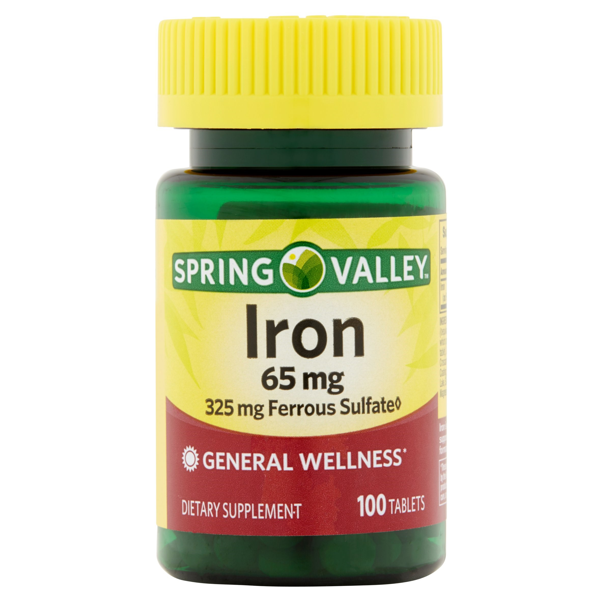 Spring Valley Iron Supplement Tablets, 65 mg, 100 Ct