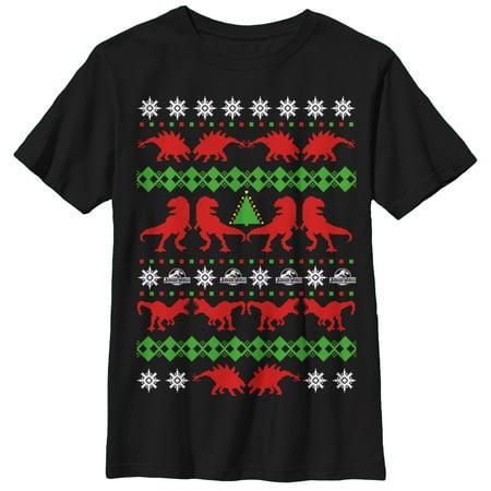 Jurassic World Boys' T. Rex Ugly Christmas Sweater T-Shirt ()