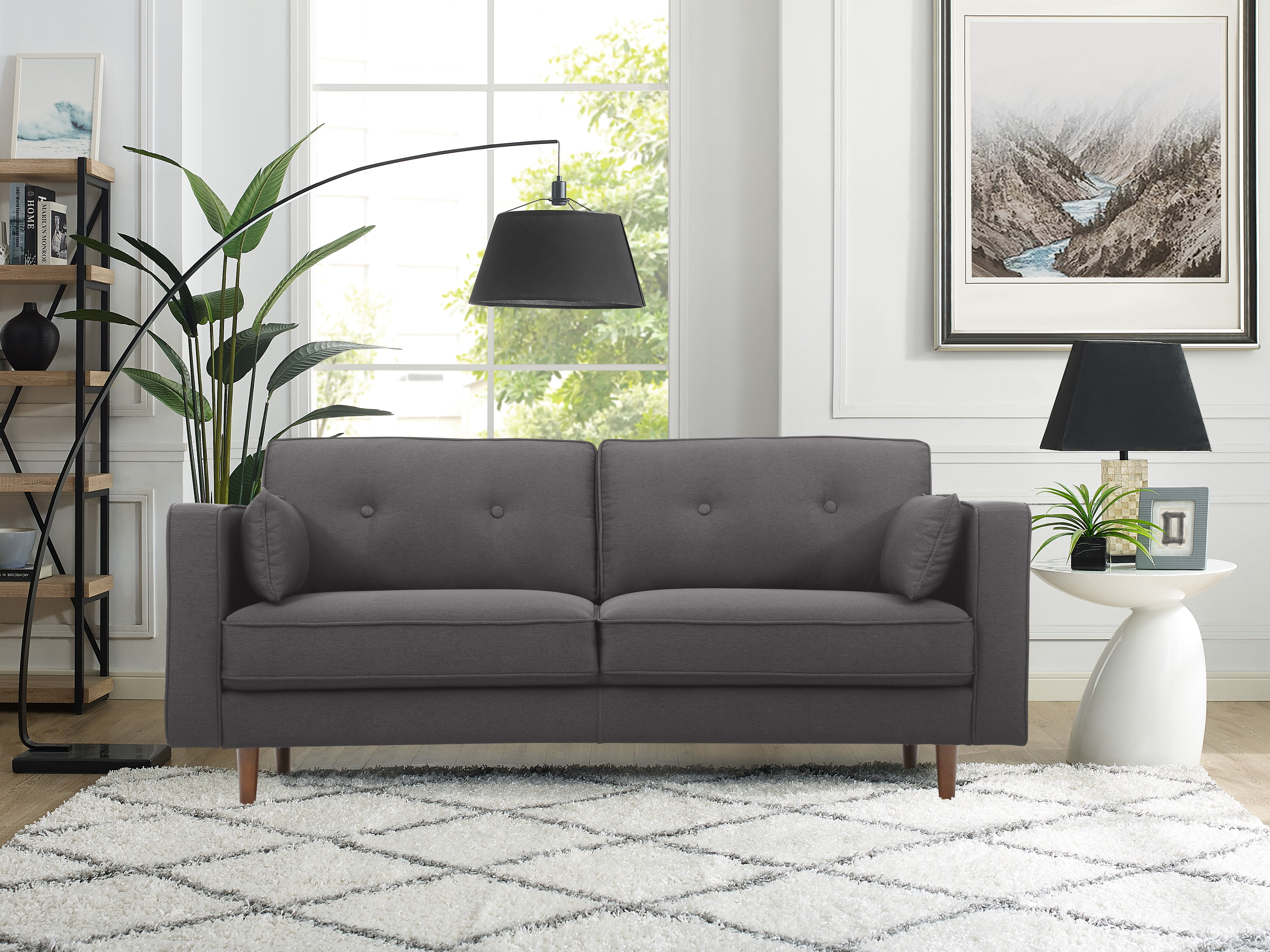 Superbe Lifestyle Solutions Tanany Mid Century Modern Design Upholstery Fabric  Sofa, Heather Grey