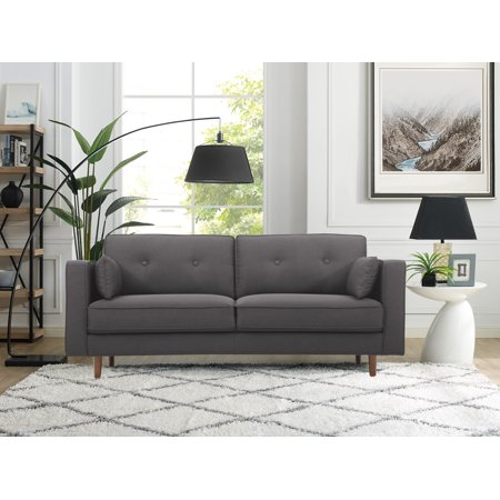 Lifestyle Solutions Tanany Mid-Century Modern Design Upholstery Fabric  Sofa, Heather Grey