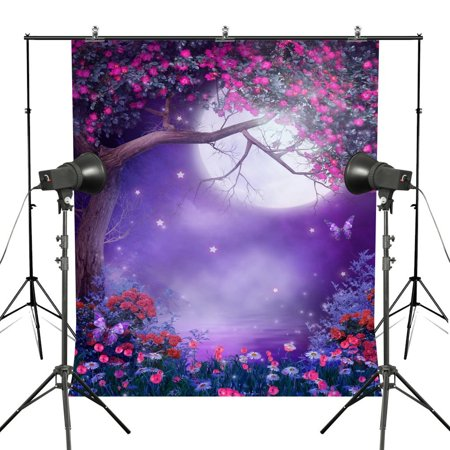 HelloDecor Polyester Fabric 5x7ft Pink Flower Photography Backdrops Purple Dream Forest Background Floral Photo Backdrop Moon Light
