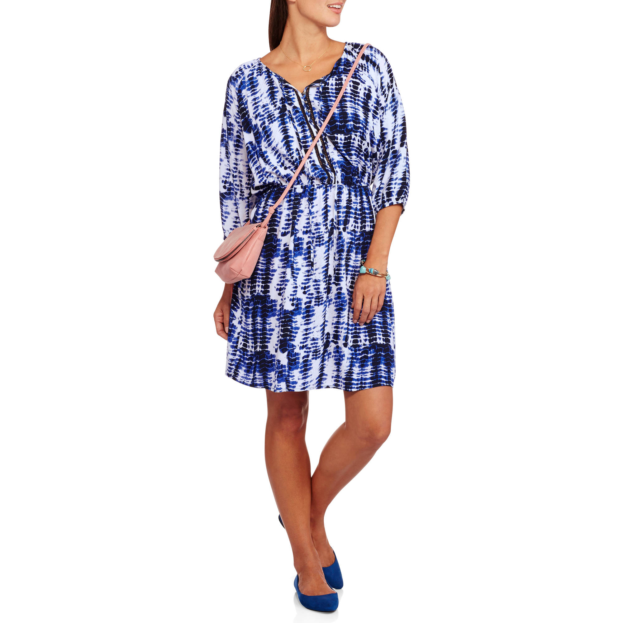 Ocean Pacific Women's Raglan Sleeve Peasant Dress with Lace up Front