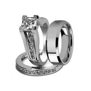 Best Wedding Rings - His and Hers Stainless Steel Princess Wedding Ring Review