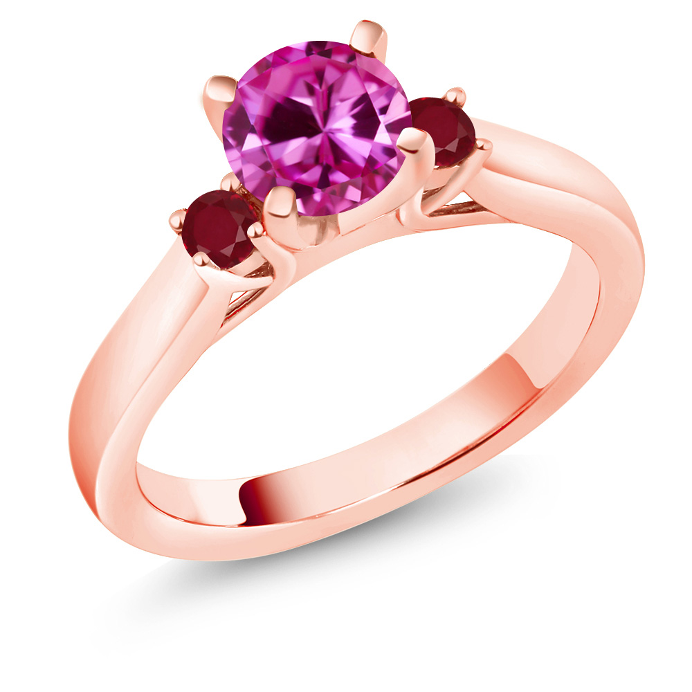 1.24 Ct Round Pink Created Sapphire Red Ruby 14K Rose Gold Engagement Ring by