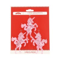 Holiday Time MiniOrnaments, Pink Unicorns, 3 Count