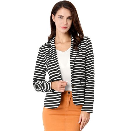 Buttoned Blazer - Women's Long Sleeves Notched Lapel Button Closure Striped Blazer