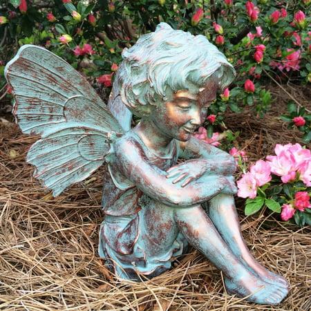 "Homestyles 12""H Caroline Fairy in Bronze Patina Home Patio & Garden Statue"
