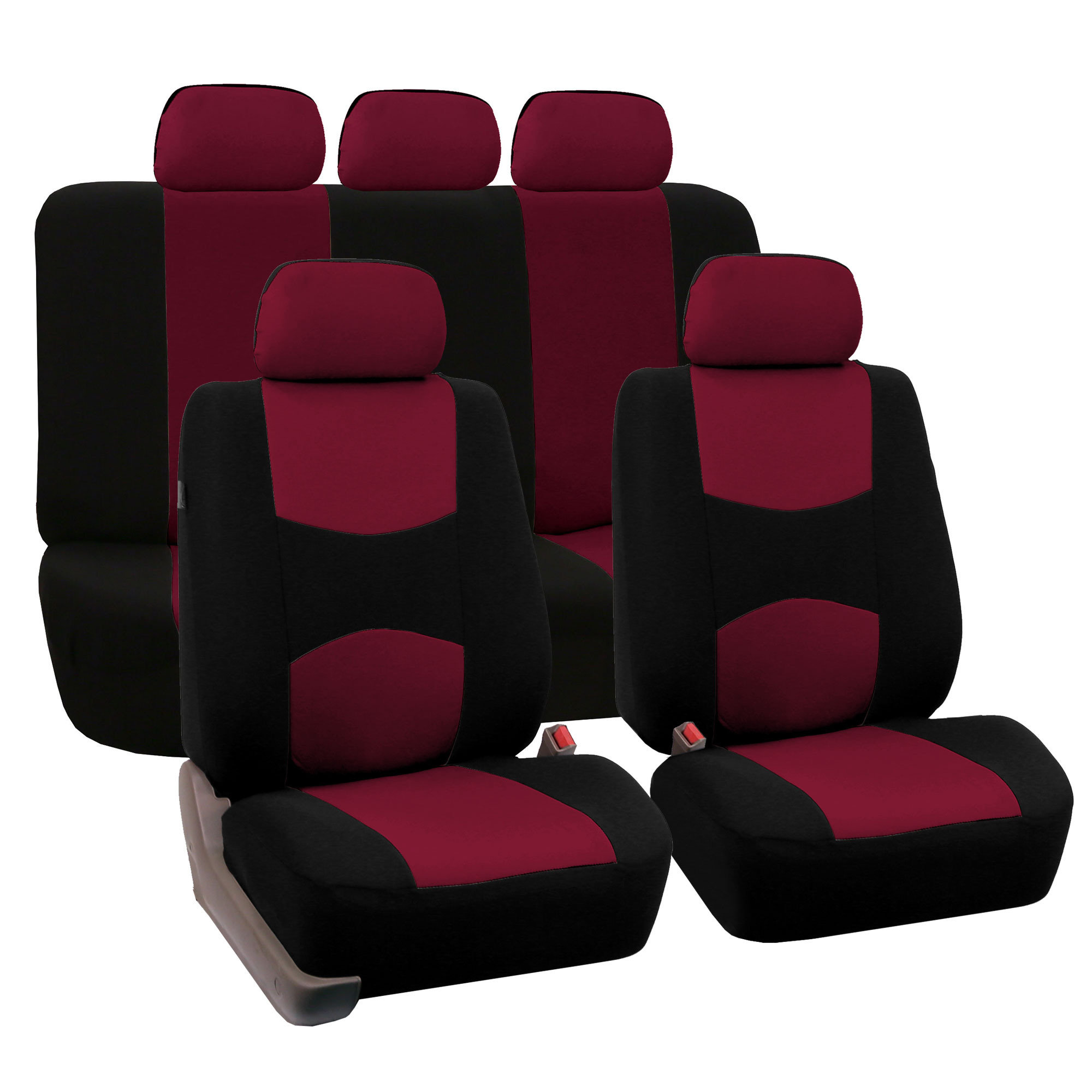 FH Group Universal Flat Cloth Fabric 5 Headrests Full Set Car Seat Cover, Burgundy and Black